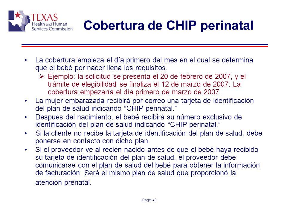 Cobertura de CHIP perinatal