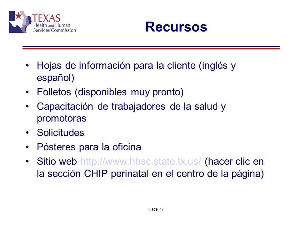 Recursos Hojas de información para la cliente (inglés y español)