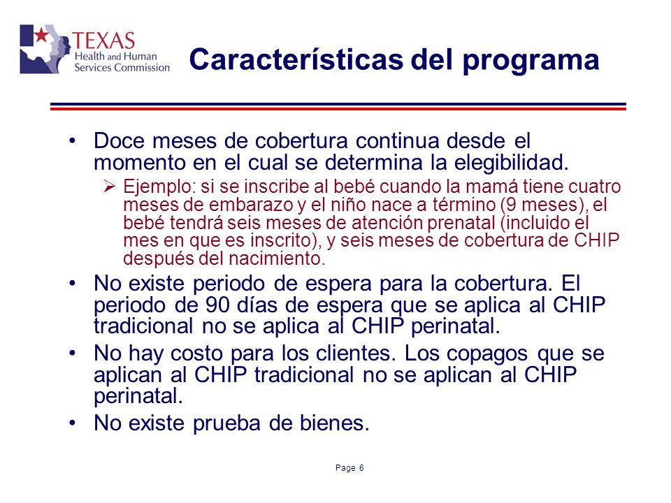 Características del programa