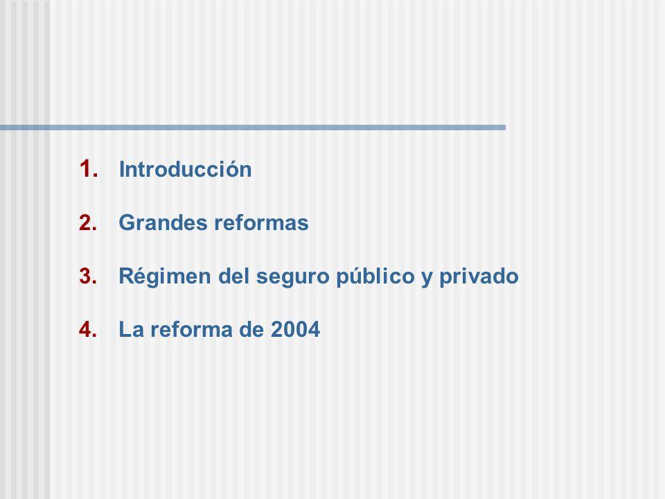 Introducción Grandes reformas Régimen del seguro público y privado