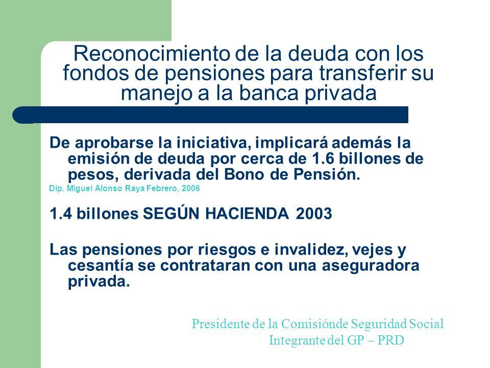 Reconocimiento de la deuda con los fondos de pensiones para transferir su manejo a la banca privada