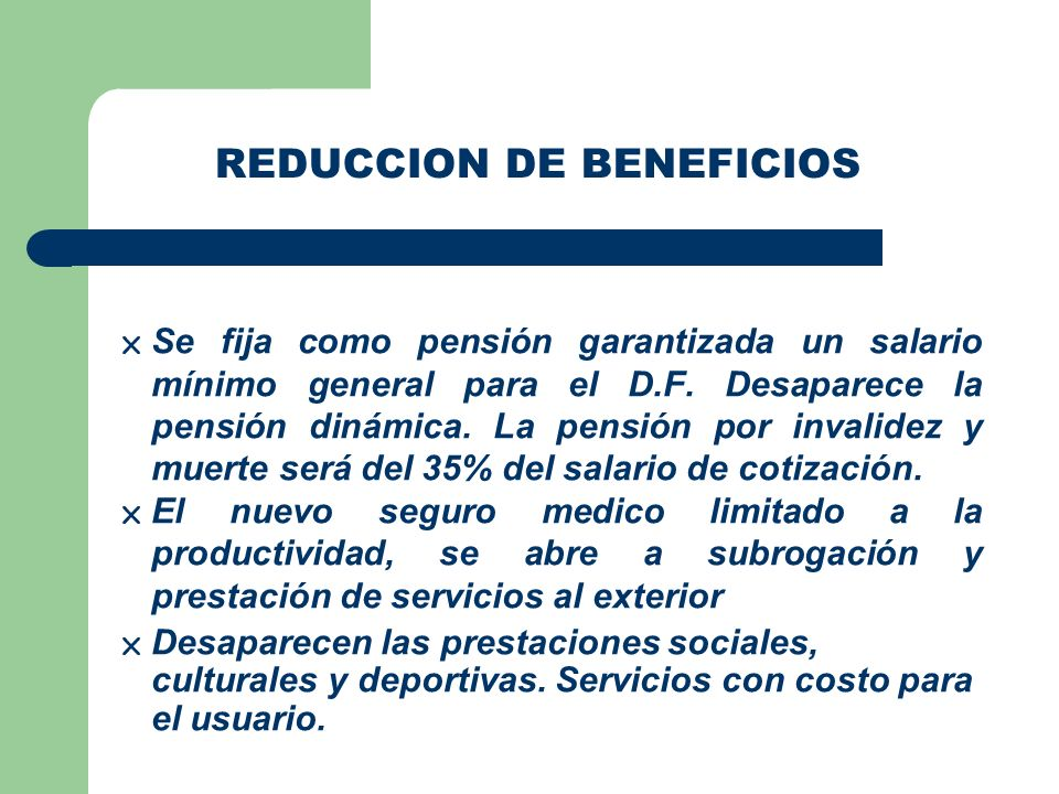 REDUCCION DE BENEFICIOS