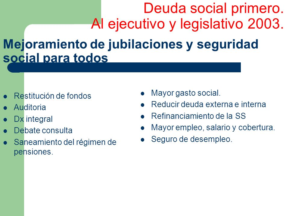 Deuda social primero. Al ejecutivo y legislativo 2003.