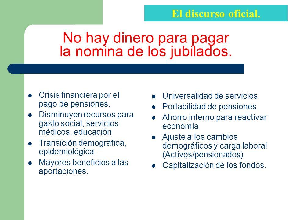 No hay dinero para pagar la nomina de los jubilados.