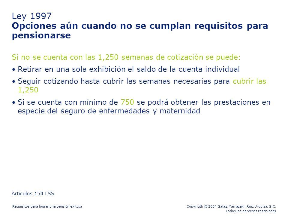 Ley 1997 Opciones aún cuando no se cumplan requisitos para pensionarse