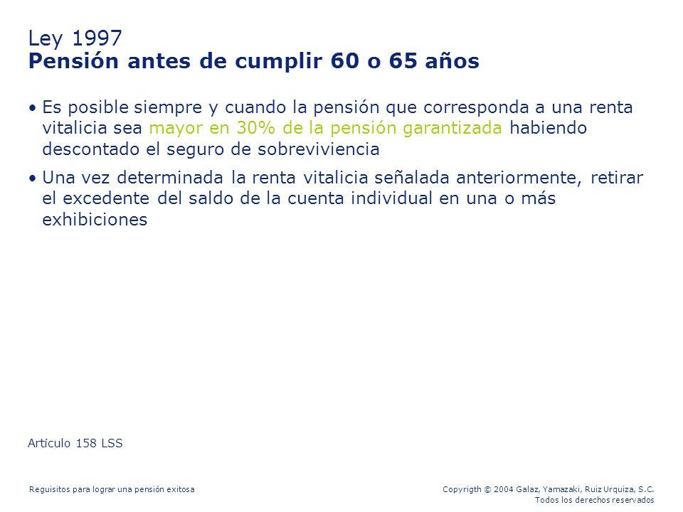 Ley 1997 Pensión antes de cumplir 60 o 65 años