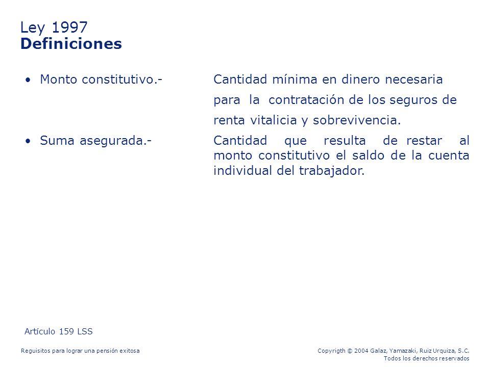 Ley 1997 Definiciones. Monto constitutivo.- Cantidad mínima en dinero necesaria. para la contratación de los seguros de.