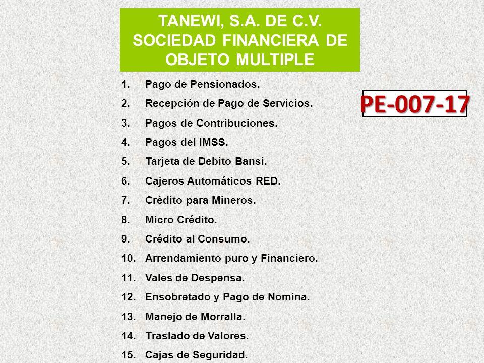 TANEWI, S.A. DE C.V. SOCIEDAD FINANCIERA DE OBJETO MULTIPLE