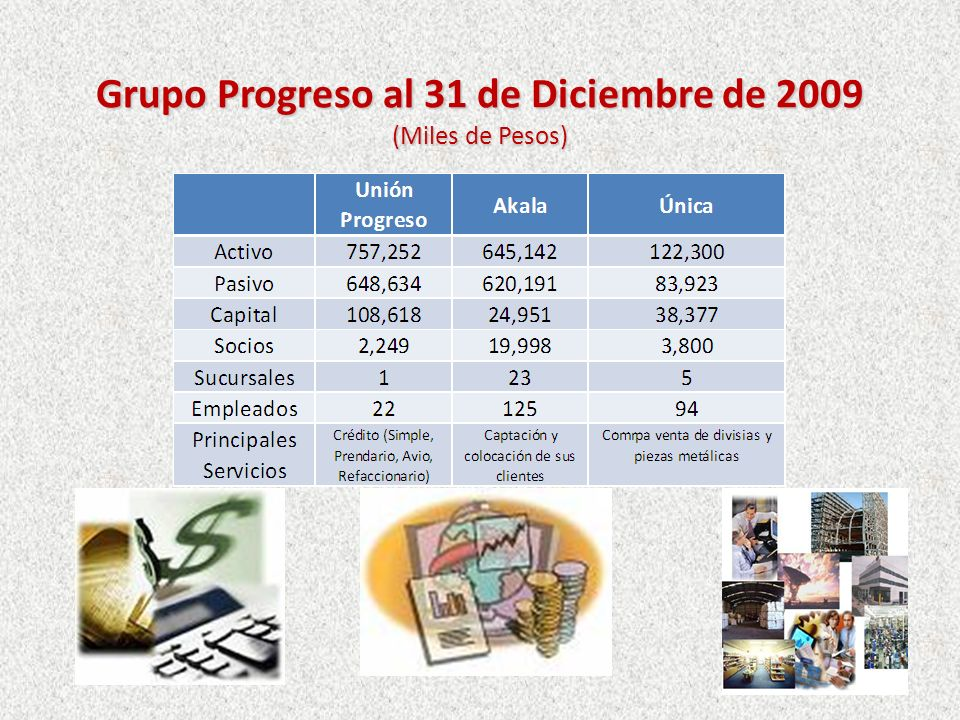 Grupo Progreso al 31 de Diciembre de 2009 (Miles de Pesos)