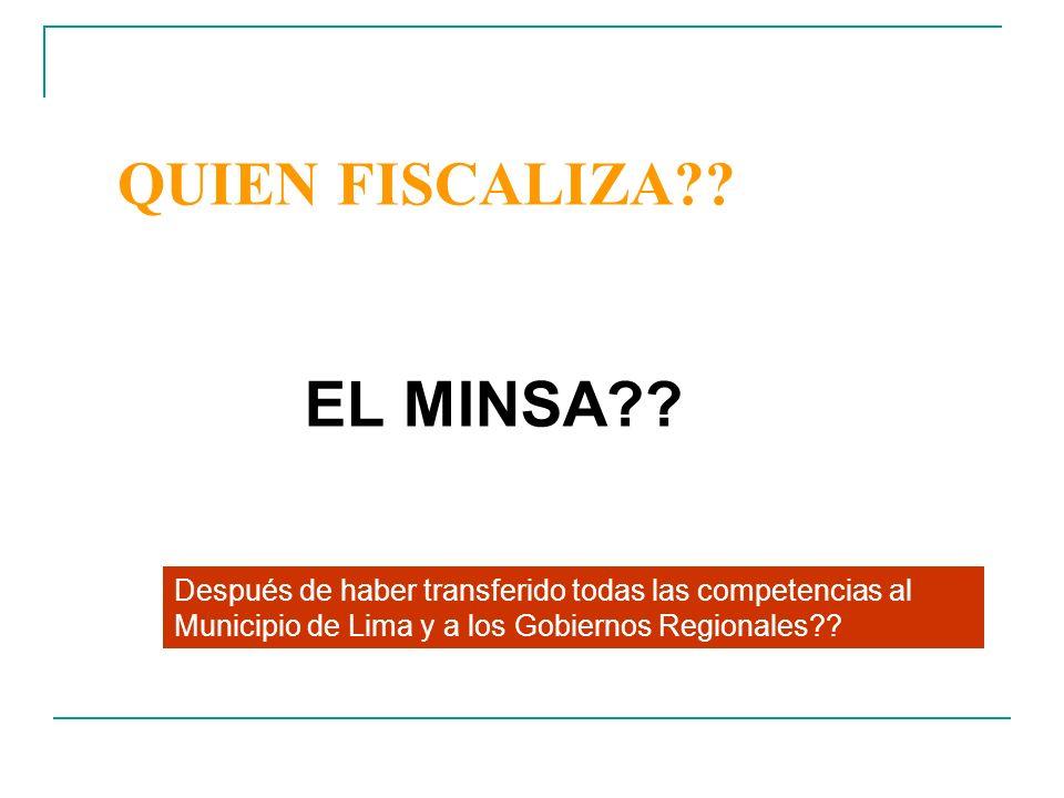 EL MINSA QUIEN FISCALIZA