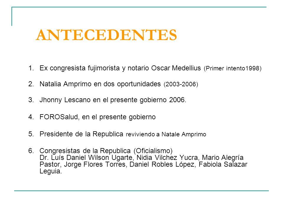 ANTECEDENTES Ex congresista fujimorista y notario Oscar Medellius (Primer intento1998) Natalia Amprimo en dos oportunidades (2003-2006)