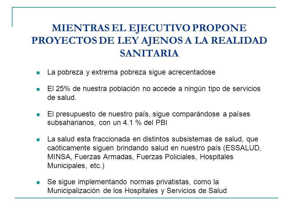 MIENTRAS EL EJECUTIVO PROPONE PROYECTOS DE LEY AJENOS A LA REALIDAD SANITARIA