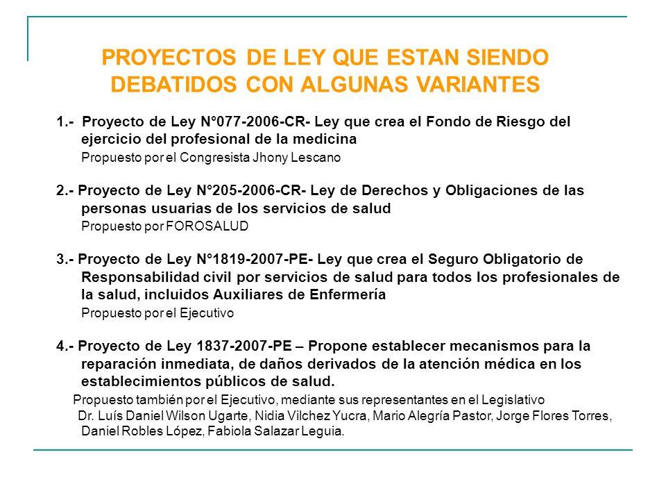 PROYECTOS DE LEY QUE ESTAN SIENDO DEBATIDOS CON ALGUNAS VARIANTES
