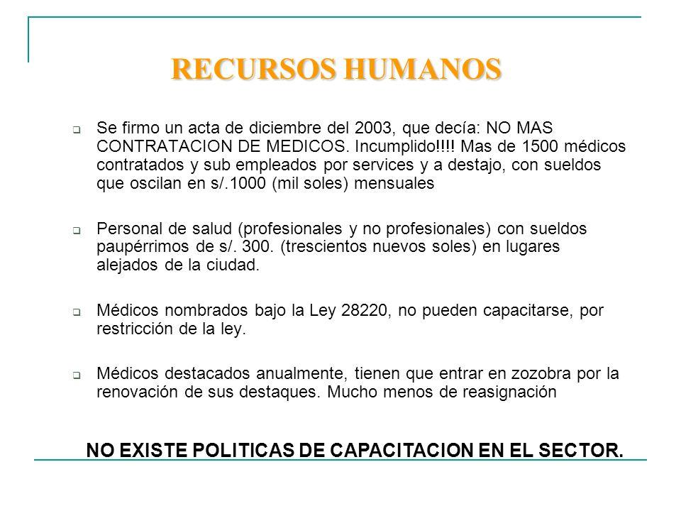 RECURSOS HUMANOS NO EXISTE POLITICAS DE CAPACITACION EN EL SECTOR.