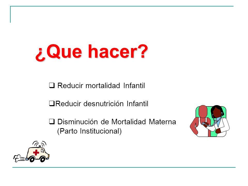¿Que hacer Reducir mortalidad Infantil Reducir desnutrición Infantil