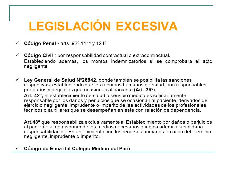 LEGISLACIÓN EXCESIVA Código Penal - arts. 92º,111º y 124º.