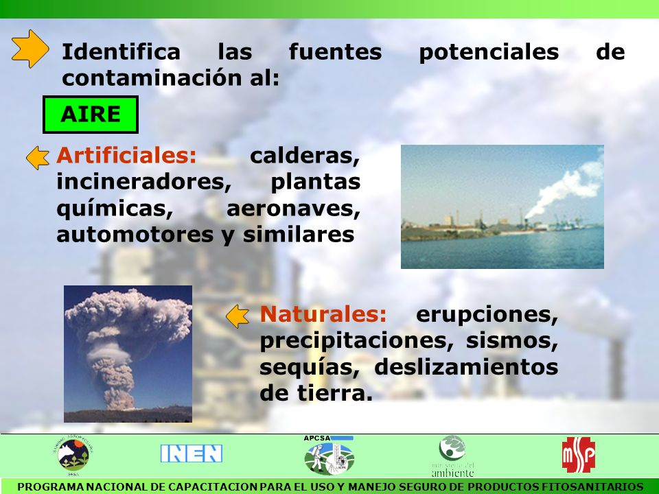 Identifica las fuentes potenciales de contaminación al: