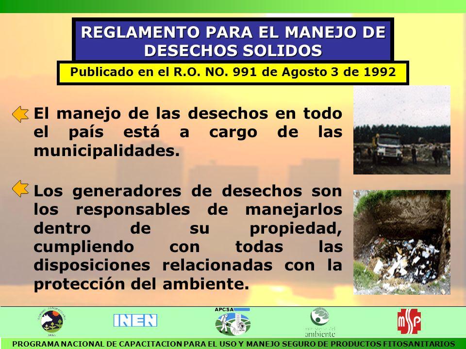 REGLAMENTO PARA EL MANEJO DE DESECHOS SOLIDOS