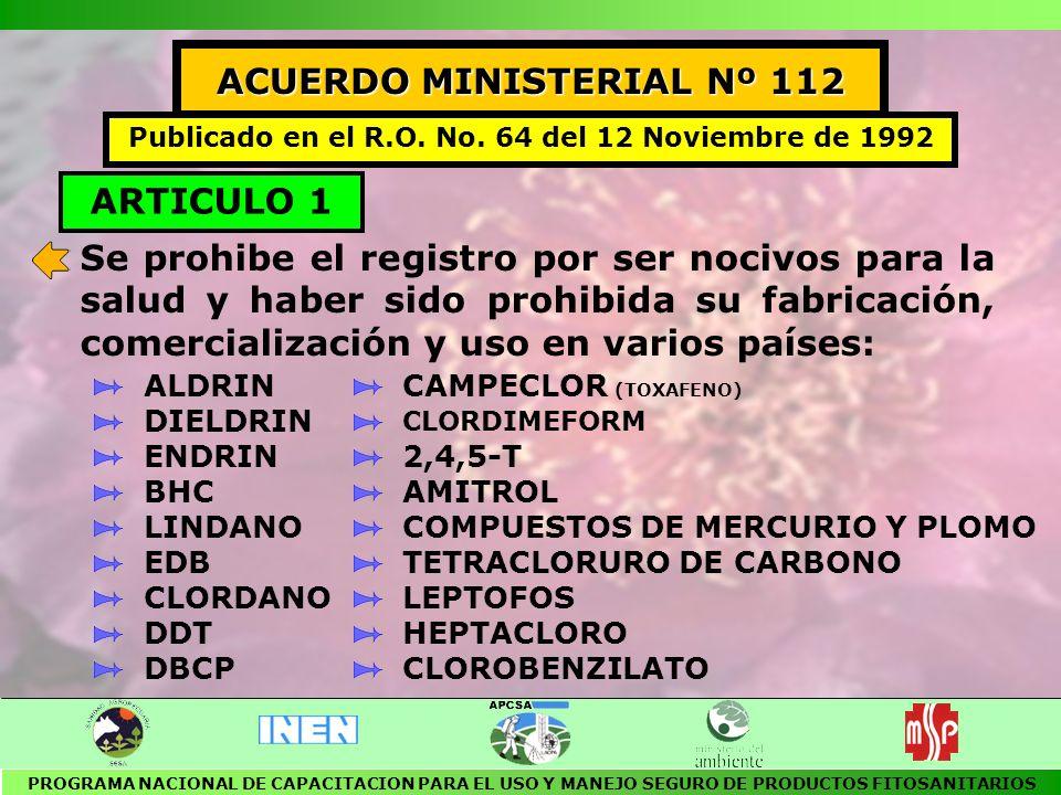 ACUERDO MINISTERIAL Nº 112 ARTICULO 1