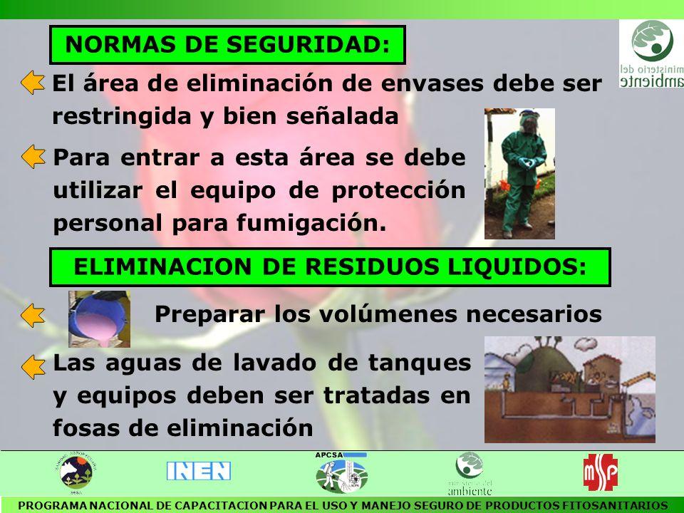 ELIMINACION DE RESIDUOS LIQUIDOS: