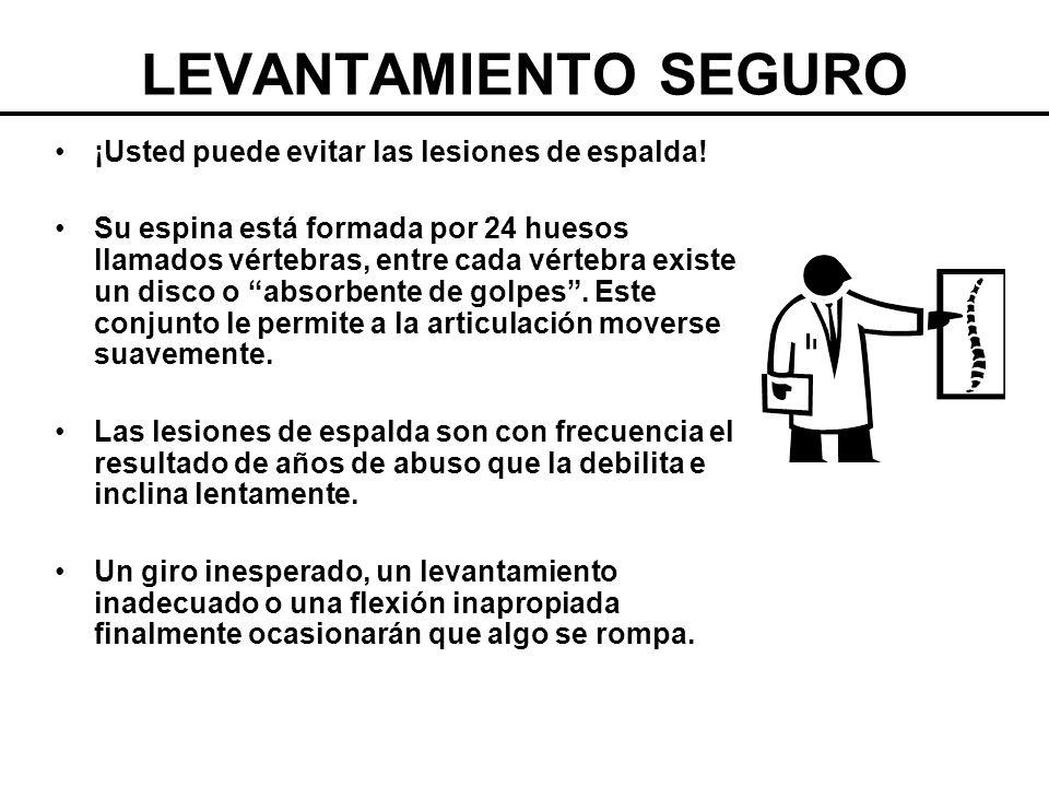LEVANTAMIENTO SEGURO ¡Usted puede evitar las lesiones de espalda!