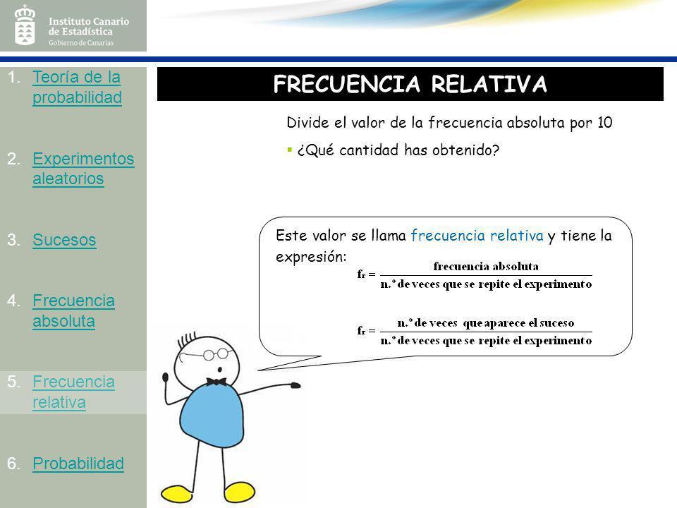 FRECUENCIA RELATIVA Teoría de la probabilidad Experimentos aleatorios