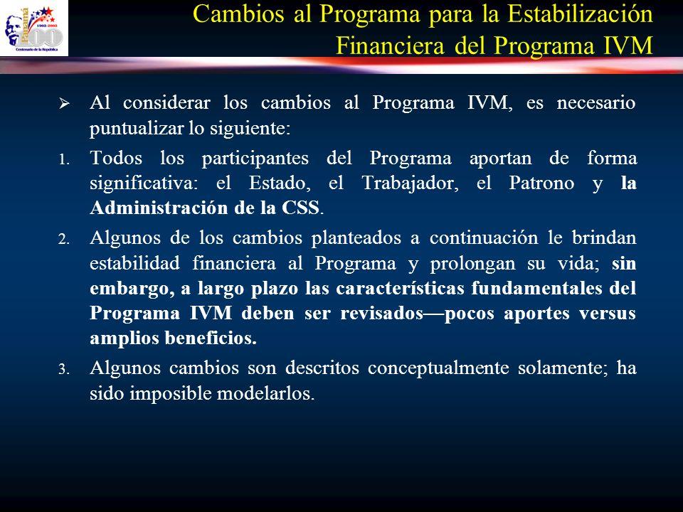 Cambios al Programa para la Estabilización Financiera del Programa IVM