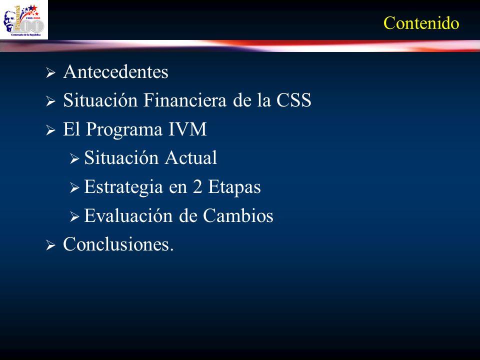 Situación Financiera de la CSS El Programa IVM Situación Actual