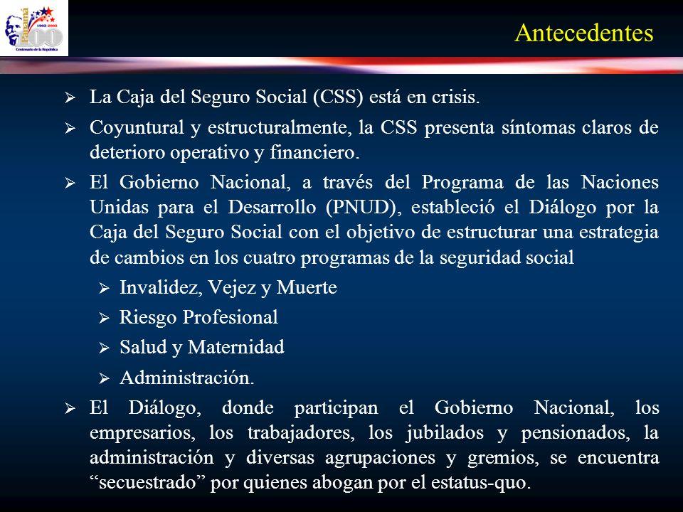 Antecedentes La Caja del Seguro Social (CSS) está en crisis.
