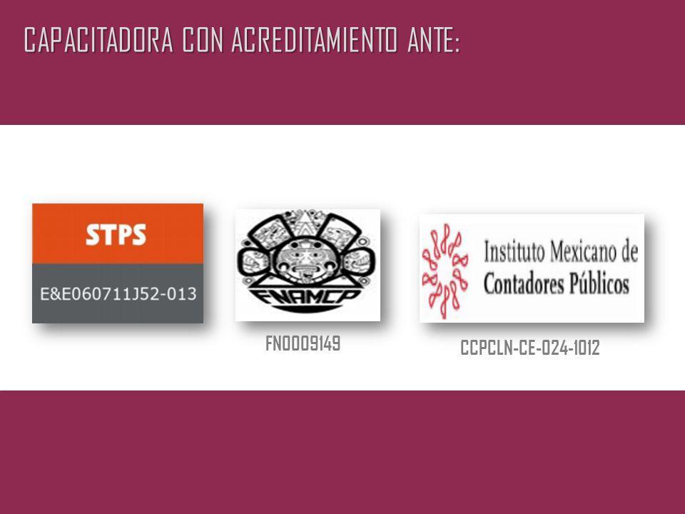 CAPACITADORA CON ACREDITAMIENTO ANTE: