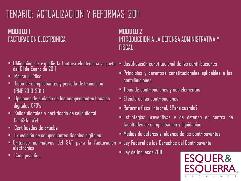 TEMARIO: ACTUALIZACION Y REFORMAS 2011