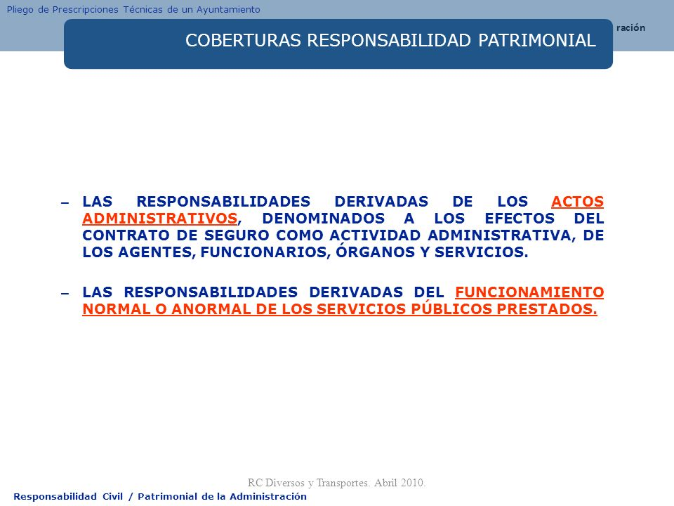 COBERTURAS RESPONSABILIDAD PATRIMONIAL