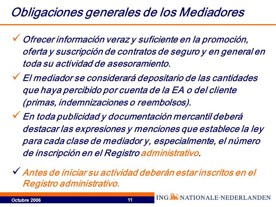 Obligaciones generales de los Mediadores