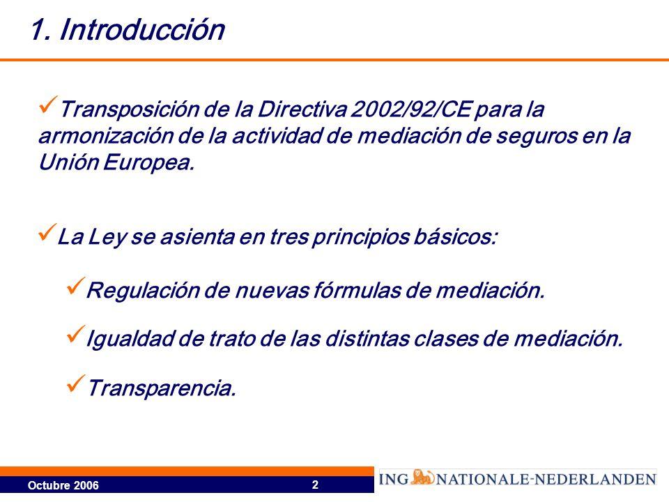 1. Introducción Transposición de la Directiva 2002/92/CE para la armonización de la actividad de mediación de seguros en la Unión Europea.