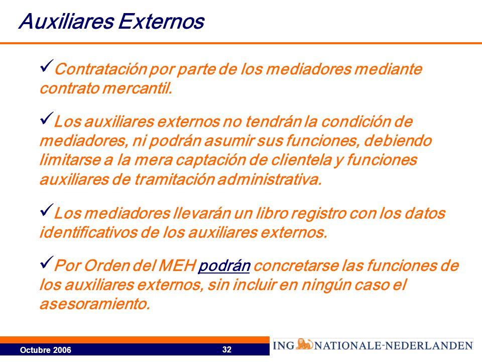 Auxiliares Externos Contratación por parte de los mediadores mediante contrato mercantil.