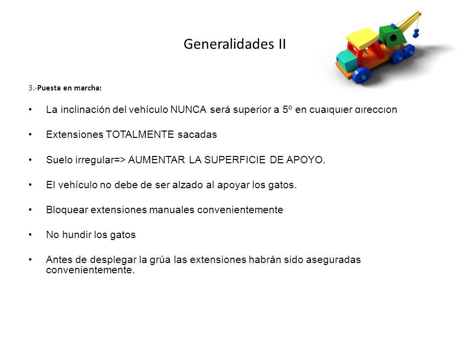 Generalidades II 3.-Puesta en marcha: La inclinación del vehículo NUNCA será superior a 5º en cualquier dirección.