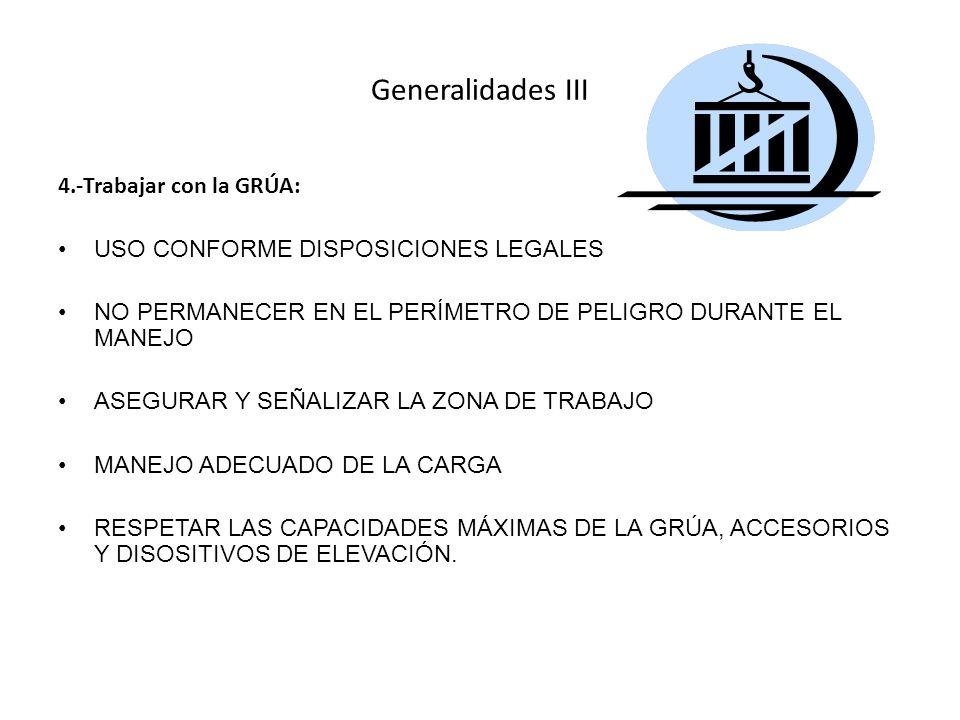 Generalidades III 4.-Trabajar con la GRÚA: