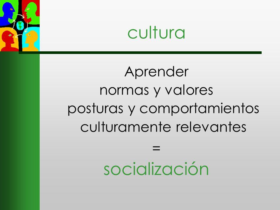 cultura Aprender normas y valores posturas y comportamientos