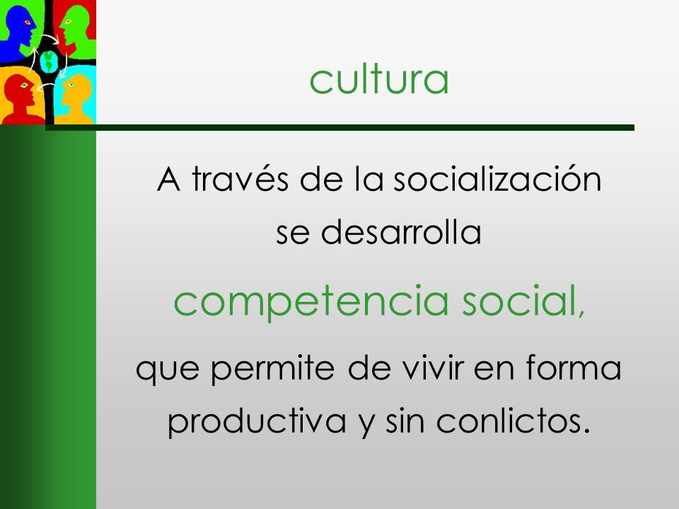 cultura competencia social, A través de la socialización se desarrolla
