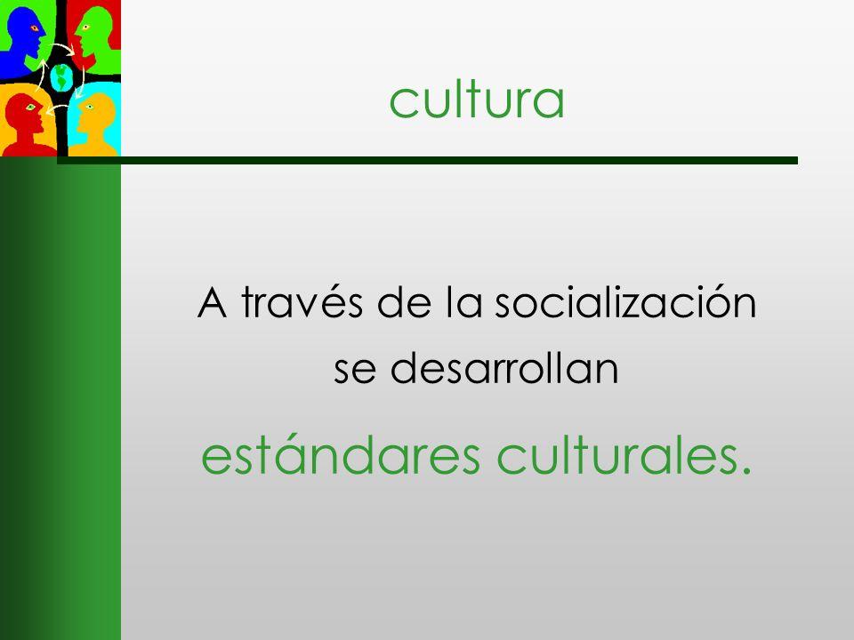 A través de la socialización se desarrollan estándares culturales.