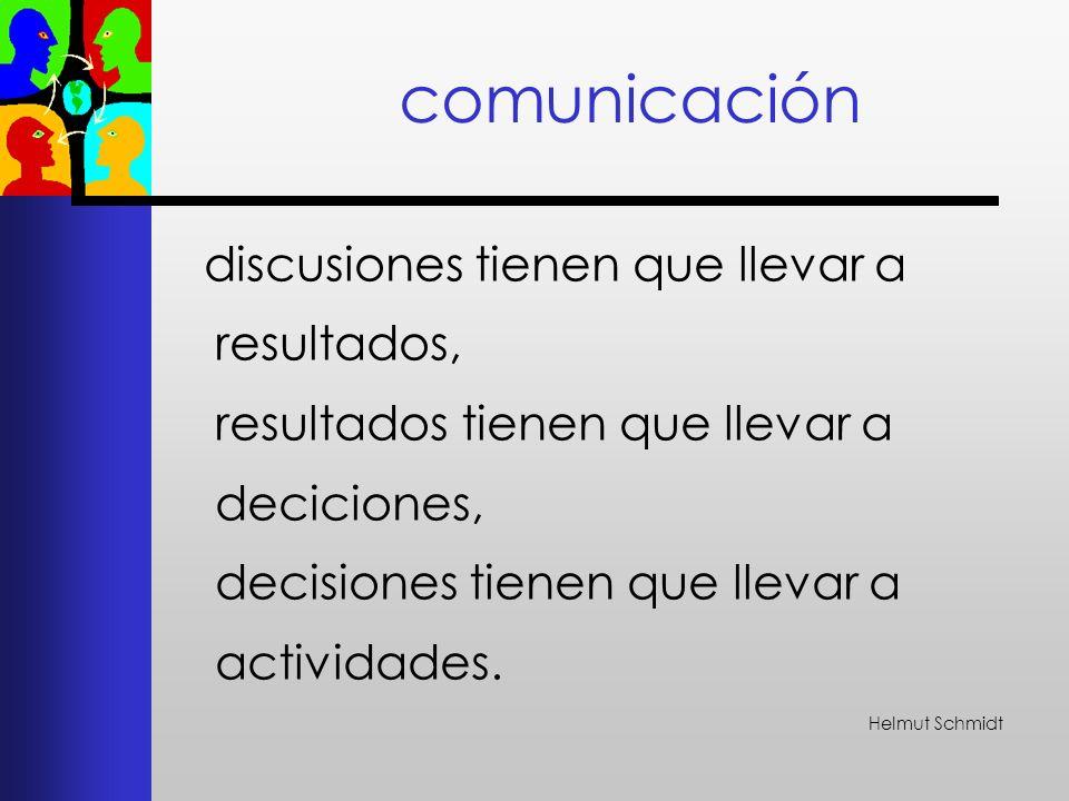 comunicación discusiones tienen que llevar a resultados, resultados tienen que llevar a deciciones, decisiones tienen que llevar a actividades.