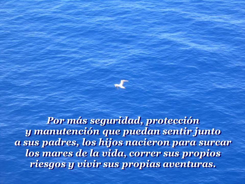 Por más seguridad, protección y manutención que puedan sentir junto a sus padres, los hijos nacieron para surcar los mares de la vida, correr sus propios riesgos y vivir sus propias aventuras.