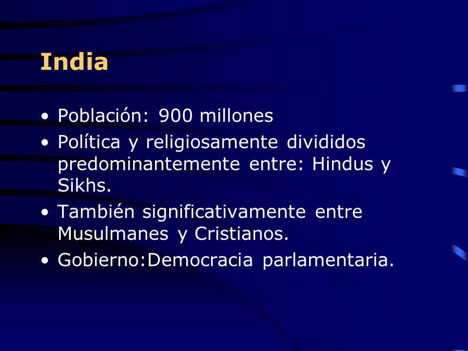 India Población: 900 millones