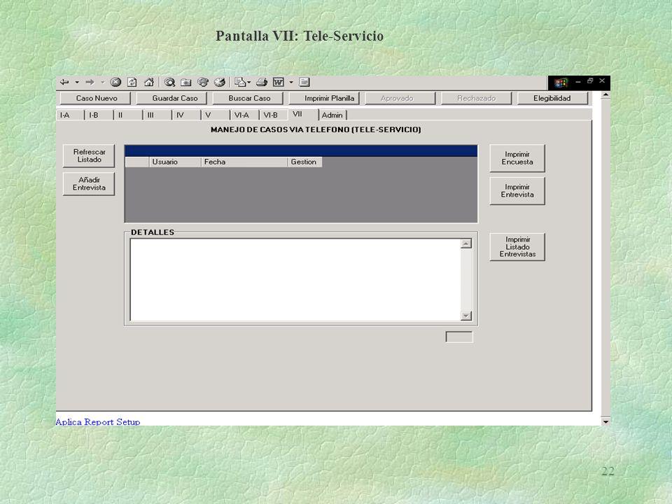 Pantalla VII: Tele-Servicio