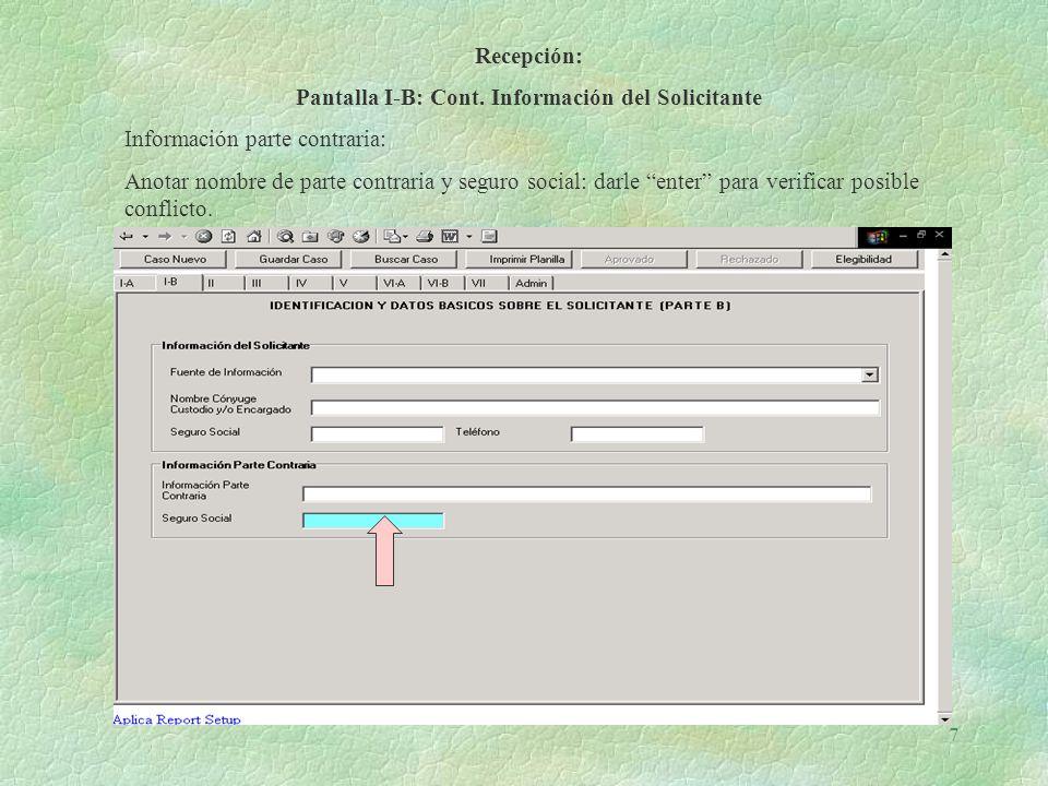 Pantalla I-B: Cont. Información del Solicitante