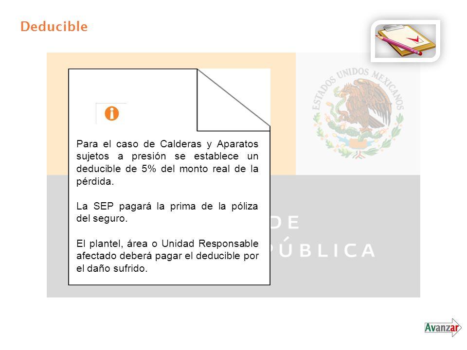 Deducible Para el caso de Calderas y Aparatos sujetos a presión se establece un deducible de 5% del monto real de la pérdida.