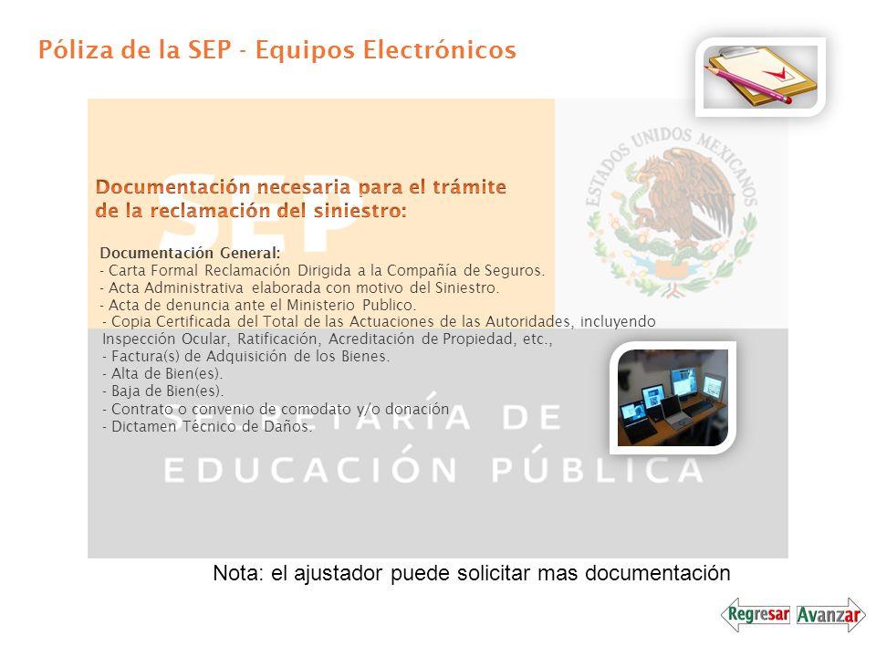 Póliza de la SEP - Equipos Electrónicos