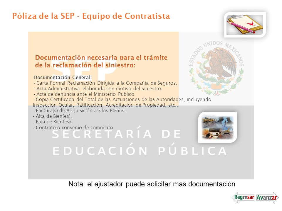 Póliza de la SEP - Equipo de Contratista