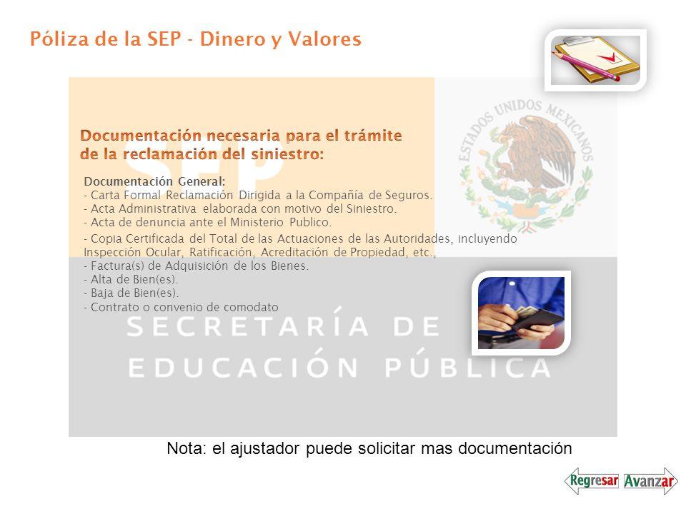 Póliza de la SEP - Dinero y Valores