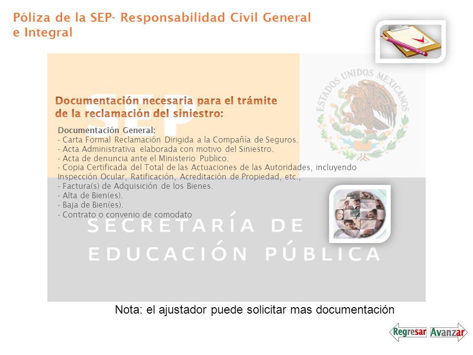Póliza de la SEP- Responsabilidad Civil General e Integral